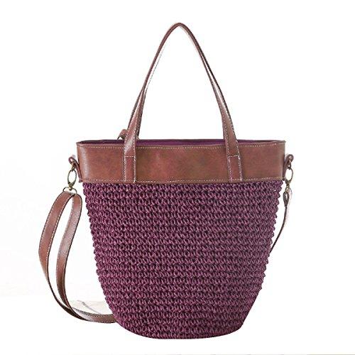 Signore Il Nuovo Semplice Colore Solido Sacchetto Della Paglia Spalla Messaggero Shoulin Borse Tessute Borse Da Spiaggia Purple