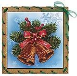 HomeHobbyArt Postkarte Kreuzstich Stickbild Weihnachten Sticken komplette Stickpackung 15x15 cm Stickvorlage Stickset Stickerei Handarbeit Set
