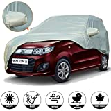 AllExtreme W7003 Car Body Cover for Maruti Suzuki Wagon R Custom Fit Dust UV Heat Resistant for Indoor Outdoor SUV Protection (Silver with Mirror)