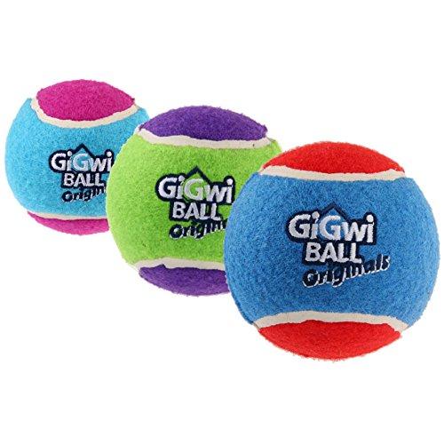 GiGwi 6119 Hundespielzeug schwimmfähiger Tennisball mit Quietscher, 3-er Pack, Hundeball / Spielball, S