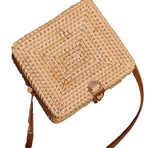 fonxoy-backpack Strandtasche, Outdoor-Strand-Strohsack Handgemachte Rattantasche Natürliche Retro-Tasche Weibliche Reise Umhängetasche Strandtasche Quadrat Gesicht