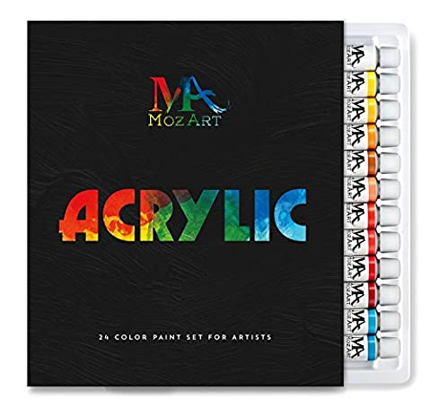 Acrylic Paint Set - 24 Paint Colours 12ml Tubes - Artist Grade Art Paint Set for Professionals, Beginners, and Kids - Ideal for Canvas, Ceramics, and Crafts - MozArt