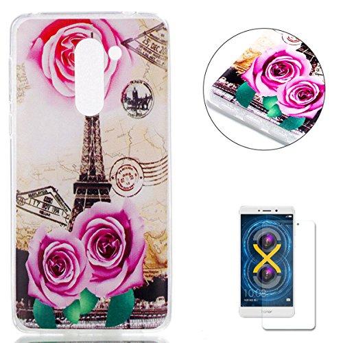 KaseHom Case for Huawei Honor 6X TPU Hülle Bunt Dünn Gummi Silikon Gel Entwurf [Frei HD Displayschutzfolie] Stoßfest Rutschfest Schutzhülle Weicher dünner TPU Fall-Rose Eiffelturm