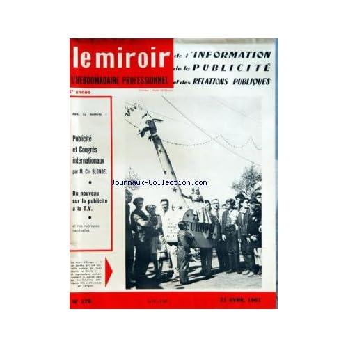 MIROIR DE L'INFORMATION DE LA PUBLICITE ET DES RELATIONS PUBLIQUES (LE) [No 178] du 21/04/1961