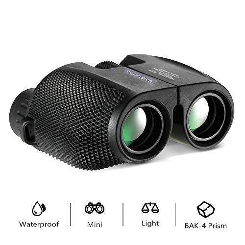 Fernglas, 10x25 HD Wasserdicht leicht Ferngläser Mini Kompaktes klappbare Binocular mit Nachtsicht für Erwachsene und Kinder, Vogelbeobachtung wandern, Sport und Tierwelt