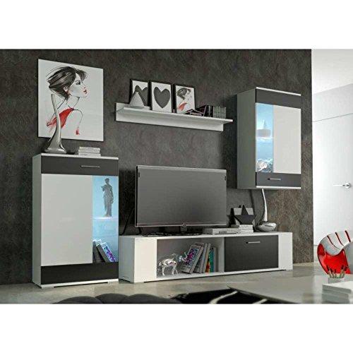 JUSThome Foox mini Wohnwand Anbauwand Schrankwand Farbe: Weiß Schwarz