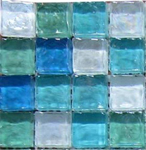 Green Blue & White Hammered Swirl Glass Mosaic Tiles Sheet (MT0052) (Sample)