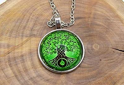 ETHNIC FEATHER -Collier cabochon arbre de la vie vert, collier bouddhiste, collier zen, chaîne en métal argenté