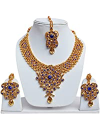 Lucky Jewellery Designer Golden Blue Color Gold Plated Stone Necklace Set For Girls & Women