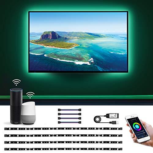 LE Luces de Tira LED WiFi, LED Tira TV, WiFi Tira TV, Control de voz y control de APP, Cambio de color, DIY Modos de luz, Compatible con Alexa, Google Home, 4 x WiFi Tira led inteligente para TV