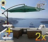 2 Stück PREMIUM XXL Ampelschirm 300 cm, grün 6-teilig, 6 Streben, 3x3m, robustes ca. 200 g/m² Polyester, Sonnenschirm inkl. Schirmtisch UV50+ KOMPLETT mit Standkreuz, Standfuß + ca. 50 mm Mast, Hängeschirm Sonnendach Überdach, Schirm Strandschirm, stabiler Gartenschirm, klappbarer Sonnenschirm - dunkelgrün grün, Klappschirm mit weichem Stoffbezug-extrem wetterfest, tragbar, Strandschirm, hochwertig robust stabil, Sonnenschutz, stabiler Schirm Klappschirm