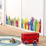 QTZJYLW Bunte Cartoon Hand Palm Smiley Gesicht Muster Wandaufkleber Wanddekorationen Wohnzimmer Wohnkultur Wandtattoo (50 × 70 cm)