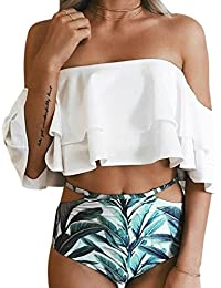 731402cc7b7a1 RONSHIN Women Sexy Bikini Swimsuit Set Cute Ruffle Off Shoulder Bra +  Triangle Shorts Swimwear Beach