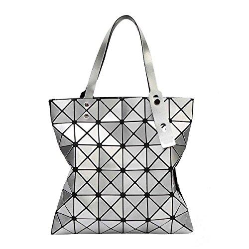 Borse Opaco Pieghevoli Geometrica Griglia Ling Moda Casuale Delle Donne Silver