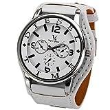 HWCOO Damenuhren JUBAOLI Herrn Armbanduhren für den Alltag Chinesisch Quartz Großes Ziffernblatt Leder Band Cool Weiß Braun (Color : White)