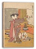Isoda Koryūsai - Das Buch waschen (Edo period (1615–1868)), 70 x 100 cm (weitere Größen verfügbar), Leinwand auf Keilrahmen gespannt und fertig zum Aufhängen, hochwertiger Kunstdruck aus deutscher Produktion