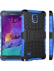 Samsung Galaxy Note 4 Funda Con Pata de cabra / Stand,EMAXELERS Slim Protector Dise?o Seguro Non-Slip Grip Unico Hybrid Soft & Duro A prueba de golpes Protecci¨®n Cover Para Samsung Galaxy Note 4(Blue)