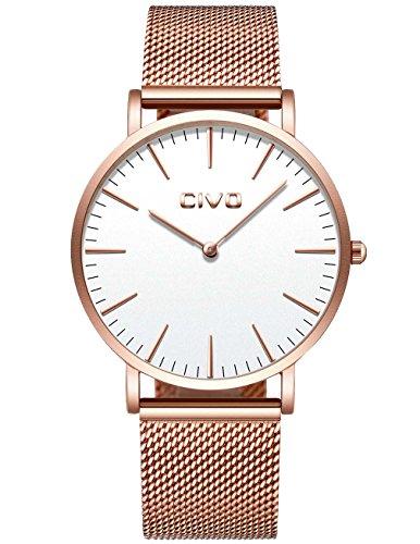 CIVO Unisex Herren Damen Uhren Ultra Dünne Minimalistische Dünne Rotgold Edelstahl Mesh Armband Wasserdicht Luxus Mode Armbanduhr mit Weiß Zifferblatt Elegant Geschäfts Beiläufig Analog Quarz Uhren