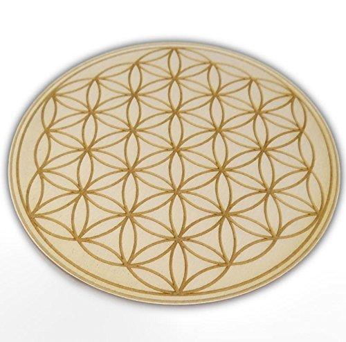 4 Stück Untersetzer mit Motiv Blume des Lebens, Yin Yang, Om, Infinity, 2 Herzen, Afrikanisches Symbol aus Holz 12cmx6mm