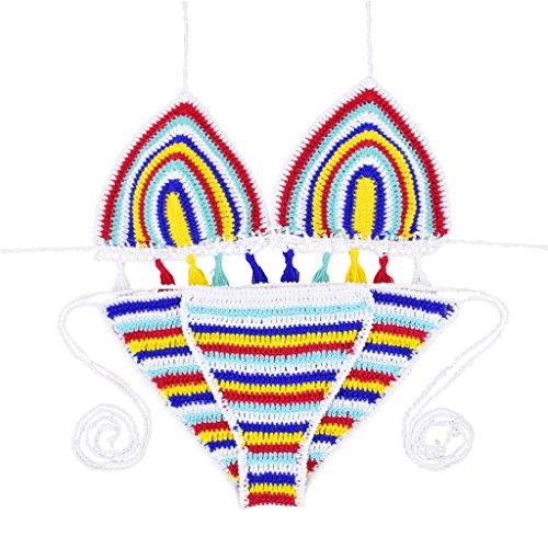 TOFERN Damen strick Neckholder Bikini manuell Badeanzug sexy Bademode verstellbare Größe zweiteiler, Bunt Euro M (Label L)