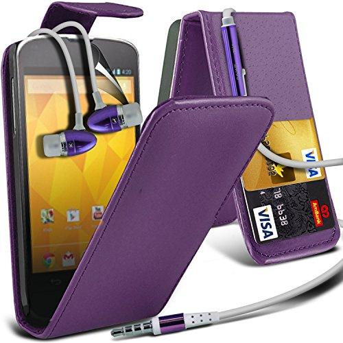 ( Purple ) LG Google Nexus 4 E960 Premium Faux Kredit / Debit-Karten-Slot Leder Flip Case Hülle & LCD-Display Schutzfolie & Aluminium In-Ear-Ohrhörer Stereo-Ohrhörer mit Hands Free Mic & On-Off-Taste Einbau by Fone-Case