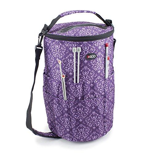 Stricken Eimer Tasche Nähen, Zubehör und Craft Nadel Aufbewahrung Organizer mit Garn Futternapf in Imperial Purple