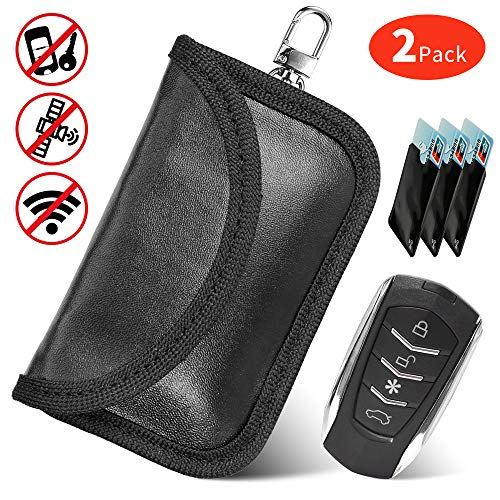 JUCERS 2 STK Mini Keyless Go Schutz Autoschlüssel + 3 X RFID Blocker Schutzhüllen für Kreditkarten, Verhindern Sie den Diebstahl Ihres Autos, Autoschlüssel Hülle RFID/NFC/WLAN/GSM/LTE Blocker Car Remote Key Mini