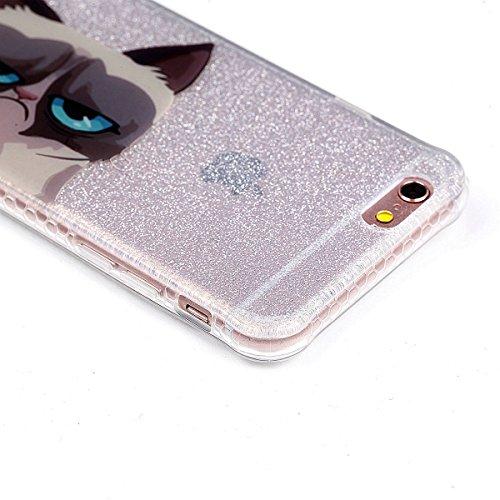 Beiuns pour Apple iPhone 6 (4,7 pouces) Coque en Silicone TPU Housse Coque - YT008 Plumes YT005 Le chat triste