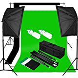 Excelvan Pro Kit Éclairage Studio Photo 1250W 5500K Kit Flash Studio - 2 Lampe d'éclairage + 2 Softebox + 2 Trépied + Kit Toile de Fond 1.8m*2.8m (Vert Noir Blanc) + Sac de Transport