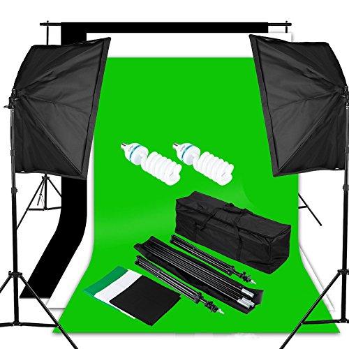 Excelvan Pro Kit Éclairage Studio Photo 1250W 5500K Kit Flash Studio - 2 Lampe d'éclairage + 2 Softebox + 2 Trépied + Kit Toile de Fond 1.8m*2.8m (Ver...