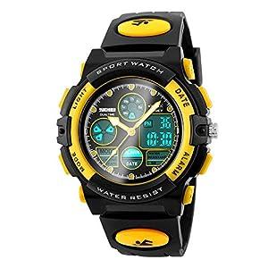 Digitale Armbanduhr für Kinder, 50 m wasserdicht, Outdoor-Sport, Laufen, Analog-Uhr mit Alarm/Timer/Dual-Zeitzone/EL-Hintergrundbeleuchtung, elektronische Armbanduhr für Kinder und Jugendliche