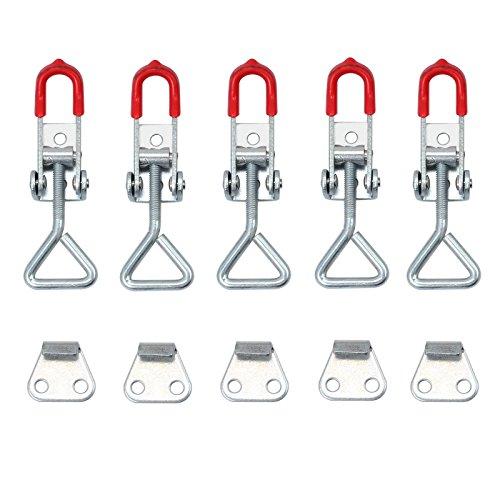 AUTOUTLET 5stk Einstellbare Kniehebelspanner 100KG/220lbs Schlösser Verriegelung Schnappverschluss Bügelspanner Verschluss Hebel Kistenverschluss Haltekraft Latch Button Toggle Latch, S Size