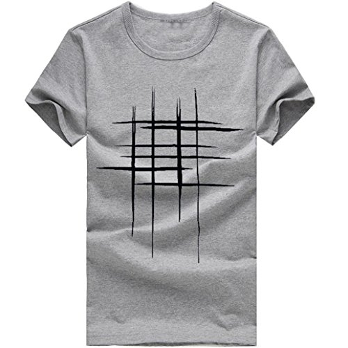 Beliebt!! Shirt Herren,Sweatshirts Herren, Sleeveless T-Shirt,Druck Tees Shirt Kurzarm T-Shirt aus Baumwolle Casual Bluse (XL, Grau) -