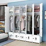 Koossy Erweiterbares Kleiderschrank mit Kategorie Aufkleber für Kinderzimmer,(25 Cube) Weiß