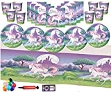 Decorazioni per feste di unicorno per bambini Decorazioni per feste di compleanno per unicorno per bambini - Piattini per piatti fantasia Unicorno, Coppa, Set di palloncini per tovaglie gratis 16
