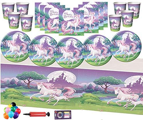 n Fantasy Party Supplies Kinder Einhorn Geburtstag Party Pack Dekorationen - Einhorn Fantasy Geschirr Teller, Cup, Tischdecke kostenlose Luftballons Pack 16 ()