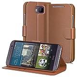HTC One M9 Wallet Hülle- VENA [vSuit] Slim Fit Leather Fall mit Stand und Karten-Slots für HTC One M9 (Braun)