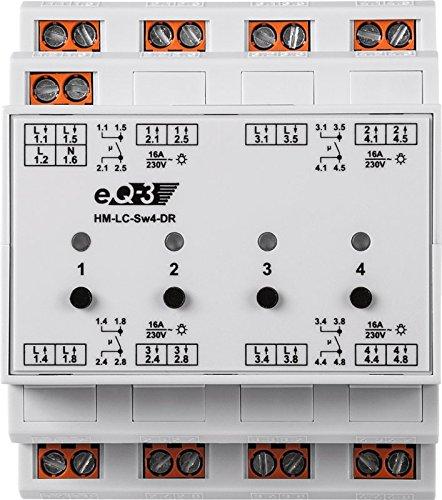 EQ3 91836 HomeMatic Funk-Schaltaktor 4-fach, Hutschienenmontage - 2