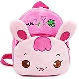 Zaino dello zaino del coniglio del bambino della neonata, URAQT Il regalo sveglio comico della pelliccia del coniglio sveglio di URAQT, il colore rosa, per 1-2 anni