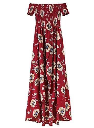 Azbro Women's off Shoulder Short Sleeve Floral Printed High Low Dress Burgundy