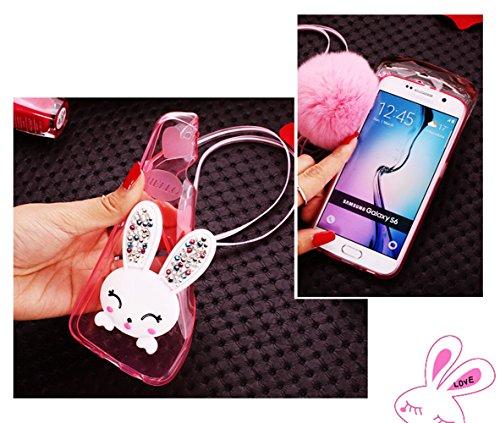 Sunroyal® Samsung Galaxy S6 Edge Plus Cover 3D Lovely Coniglio Custodia in Silicone Foldable Bunny Ear Case Trasparente Rabbit Soft Morbido TPU Bumper Protettiva Cassa con Orecchio Supporto e Cinghia  Coniglio 01