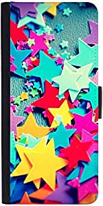 Snoogg Stars Colourful Pattern Graphic Snap On Hard Back Leather + Pc Flip Co...