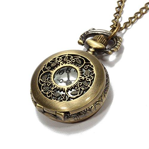Orologio da Tasca Bronzeo Quarzo Fiore Traforato Numeri Arabi con Collana Retro