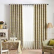 ستائر تعتيم مع فتحات الازرار وستائر مطبوعة ورقية مجففة، نمط عصري لتزيين النوافذ المنزلية، اصفر، (2 × 2.7 متر)