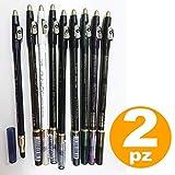 TradeShopTraesio® Lot de2crayons eye-liner waterproof pour le contour des yeux, avec éponge et taille-crayon