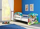 Clamaro 'Fantasia Weiß' 160 x 80 Kinderbett Set inkl. Matratze und Lattenrost, mit verstellbarem Rausfallschutz und Kantenschutzleisten, Design: 34 Kleine Farm