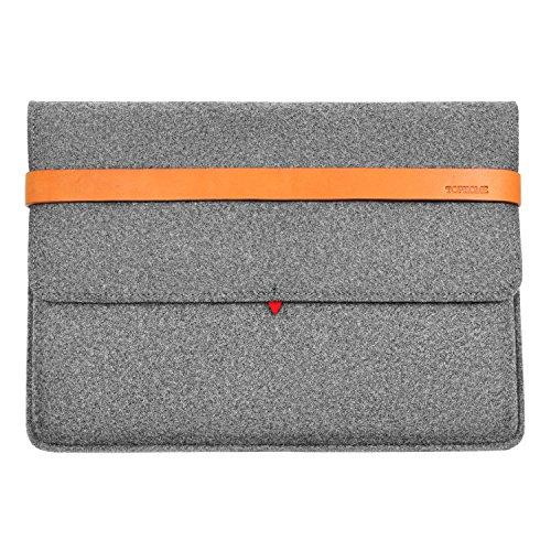 e Fashion Wolle Filz-Laptop Big Displayschutzfolie Tasche 38,1-39,1cm für MacBook/MacBook Pro Sleeve Schutzhülle mit italienischem Echt Dick Leder grau ()
