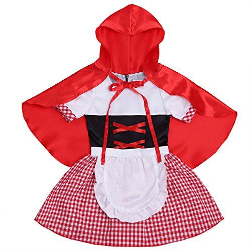 iixpin Mädchen Princess Kleider mit Umhang Cape Halloween Trachtenkleid Faschingskostüm Gr.68-110 Red&White 98-104