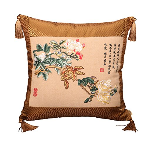 Jiu Bu Oreiller De Broderie Classique Chinois 18 * 18 Pouces Pivoine Motif Papillon,18 * 18Inches-B