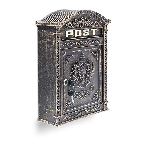 Relaxdays Briefkasten Antik Englischer Wandbriefkasten aus Aluguss mit breitem Briefschlitz für DIN A4 Umschläge HBT: 44,5 x 31 x 9,5 cm nostalgischer Postkasten mit rundem Dach, bronze